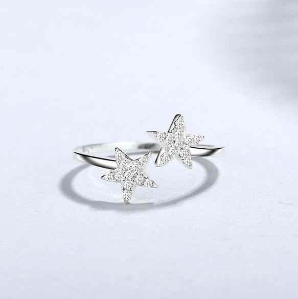 Женское кольцо, звезда, регулируемое, 925 пробы, серебряное кольцо с цирконием, сверкающий камень, для женщин, модное, свадебное, обручальное, ювелирное изделие