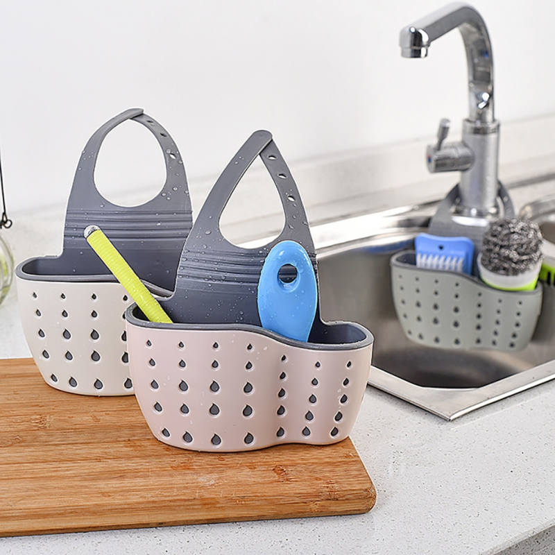 Kitchen Sink Hanging Drainer Sponge Storage Holder Basket  Organizer Kitchen Adjustable Snap Sink Rack Hanging Kitchen Holder