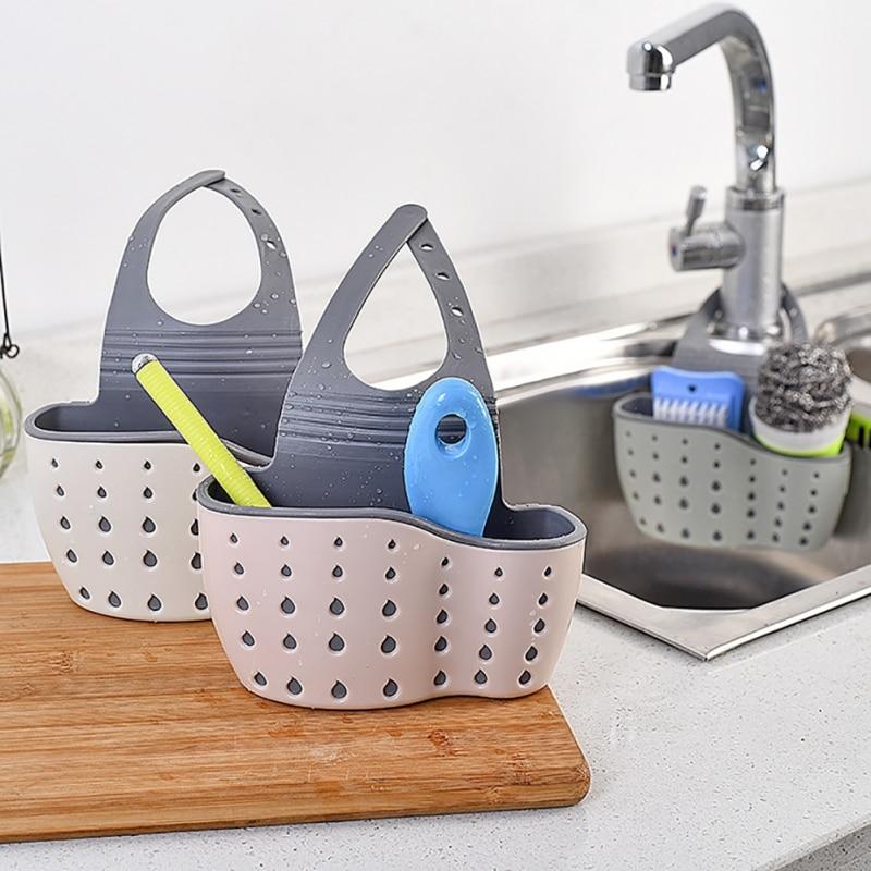 Kitchen Sink Hanging Drainer Sponge Storage Holder Basket  Organizer Kitchen Adjustable Snap Sink Rack Hanging Kitchen Holder