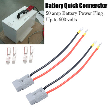 2X Battery Connector 50A Car Trailer Solar Truck 9.8in 5mm Extension Wires Up to 600 volts 4X Copper Contacts 2X Red Wires 8Z image