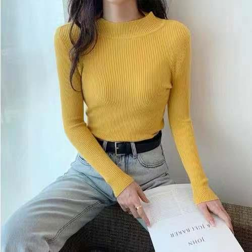 Women Sweaters Autumn Winter Turtleneck Long Sleeve Stretch Blue Knitted Pullovers Fashion Femme Soft Thin Jumper Tops 10 Colors 15
