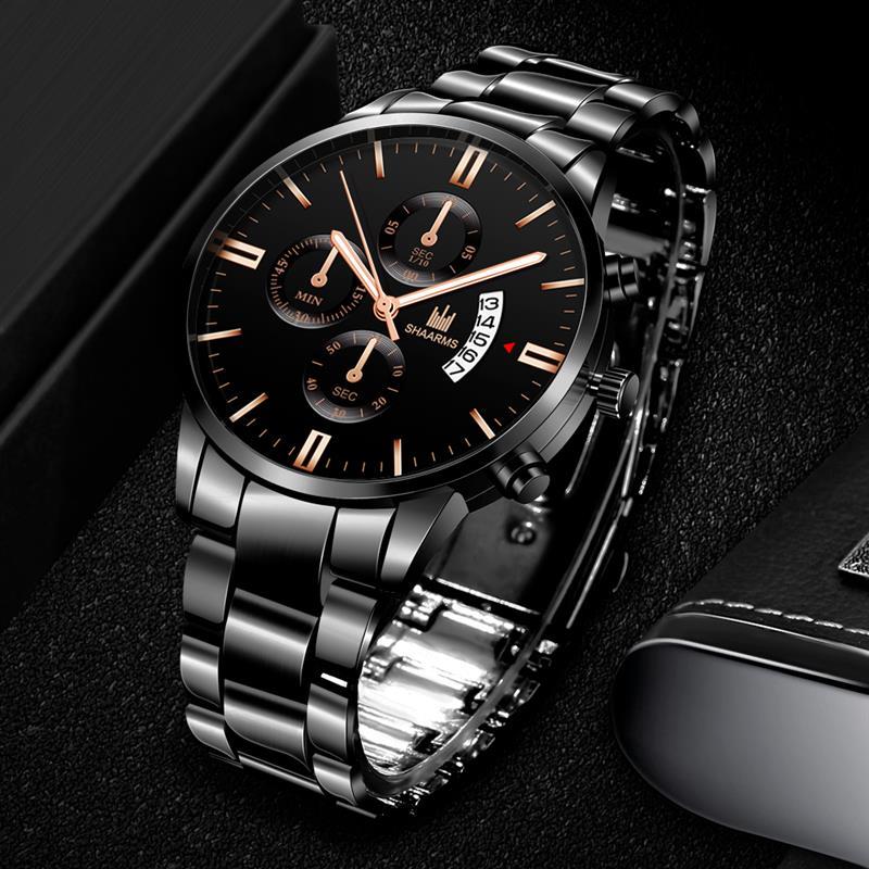 2019 Luxury Men Quartz Watch Stainless Steel Band Analog Date Wristwatch Male Man Fashion Military Sport Watches Erkek Saat