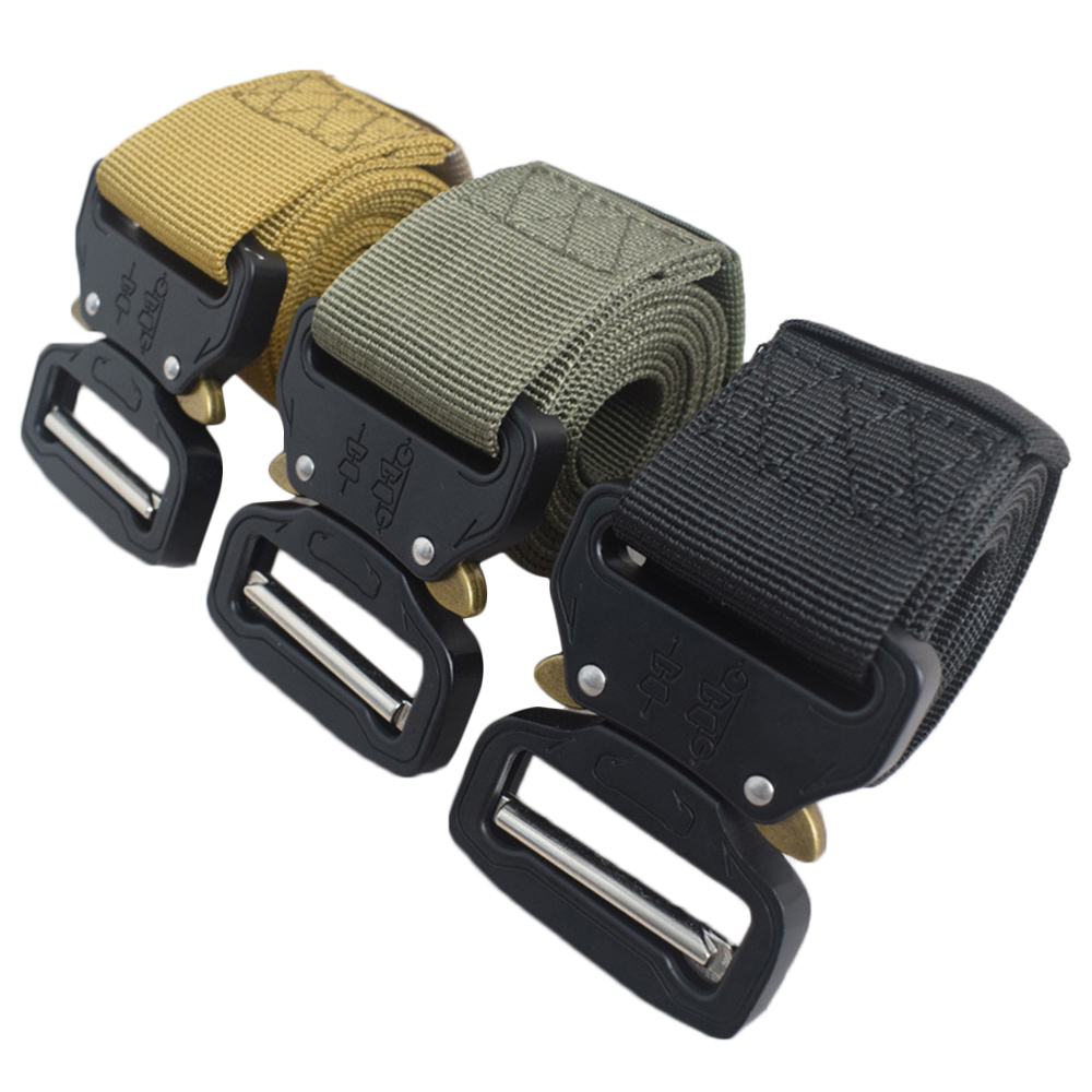 Military Tactical Nylon Belt Metal Buckle Adjustable Army Outdoor Quick Release Hunting Training Nylon Belt Length 125cm