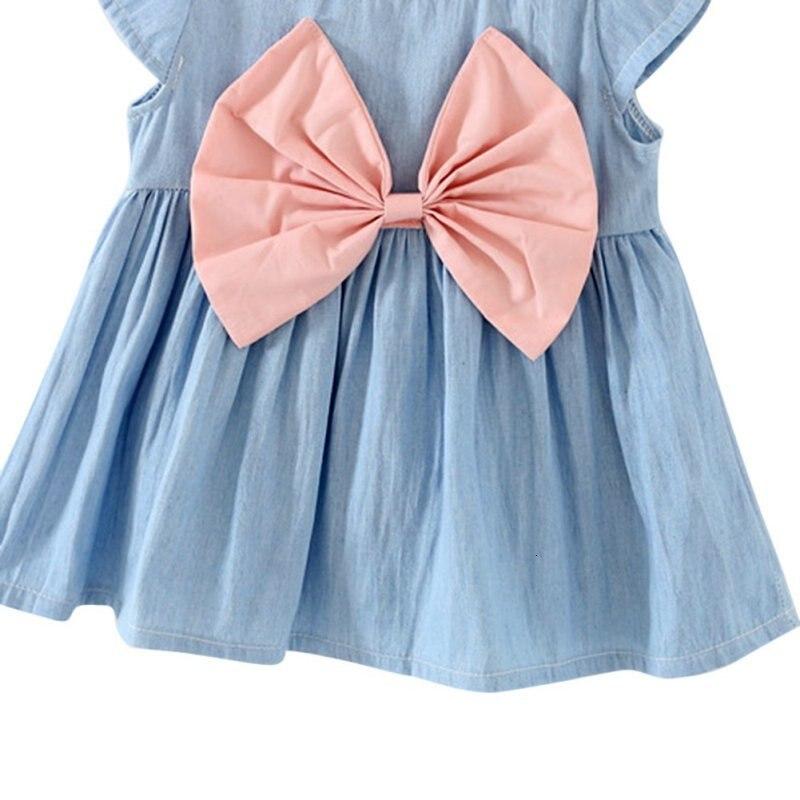 H4f2963fa0f4245e68faf75e4b319018eo Girls Dress 2018 Summer Explosion Solid Color Denim Dress Cartoon Polka Dot Bow Cartoon Bunny Satchel Korean Baby Cute Dress