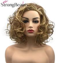 قوي الجمال مجعد باروكة شعر مستعار للنساء قصيرة الاصطناعية مقاومة للحرارة الباروكات النساء الشعر اليومي أو تأثيري
