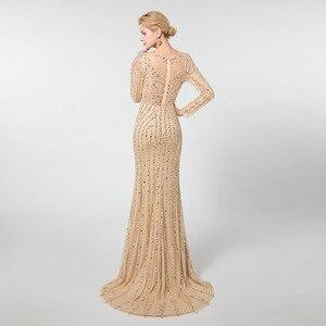 Image 2 - YQLNNE złote suknie wieczorowe z długim rękawem syrenka tiul kryształy frezowanie suknia na konkurs piękności Robe De Soiree