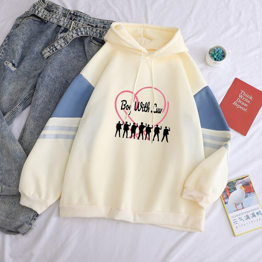 Women Hoodies Sweatshirt Casual Korean Kpop Boy With Luv Print Hooded Spell Color Splicing Fleece Funny Streetwear Pullover Tops