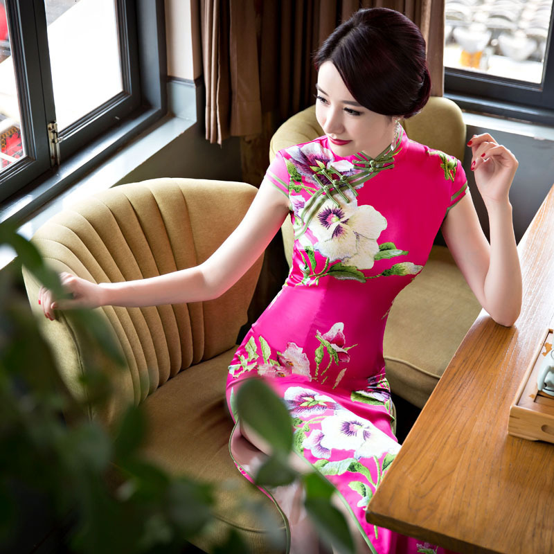 Sheng Coco 3XL 4XL 5XL Rose Red Flower Cheongsam Chinese Wedding Dress Plus Size Women Clothing Women Long Qipao