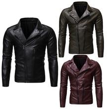 Spring Autumn Leather Jacket Solid Color Mens Zipper Biker Men Handsome Slim Fit Motorcycle