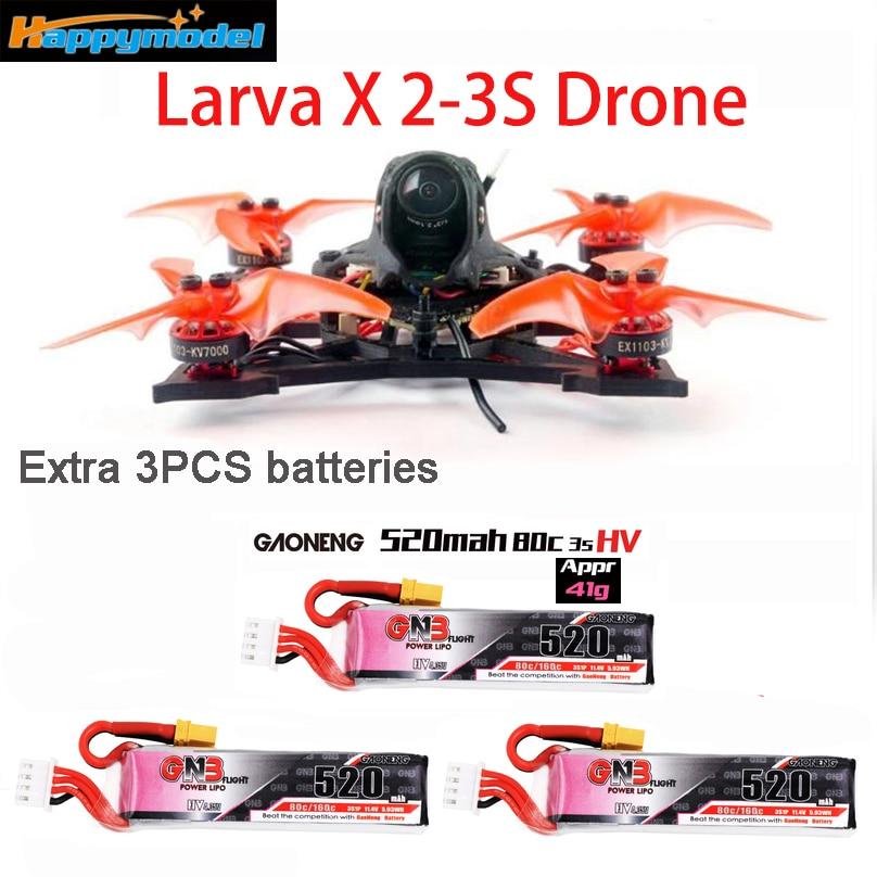 Happymodel larve X 2 3S 100mm 2.5 pouces Drone de course sans brosse FPV crazy ybee F4 PRO V3.0 AIO FC caméra 25mw ~ 200mw VTX GNB 520mah