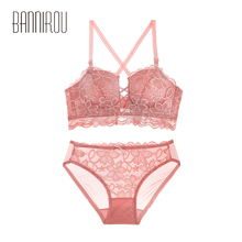2 Pcs Bra Panties Sets Sexy Lace Lingerie Women New Push Up Bras Mesh Briefs Underwear For Woman Seamless BANNIROU