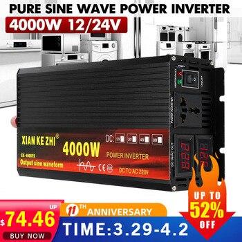 Inversor de onda sinusoidal 12V, 24V, 220V, 2000W/3000W/4000W, conversor CC12/24V a CA220V, 2 pantallas LED 1