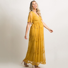 Maternity Dresses for Photo Shoot Summer V Neck White Lace Short Sleeve Pregnancy Dress Pregnant Women Photography Maxi Dress fashionable plunging neck short sleeve embroidered lace spliced dress for women
