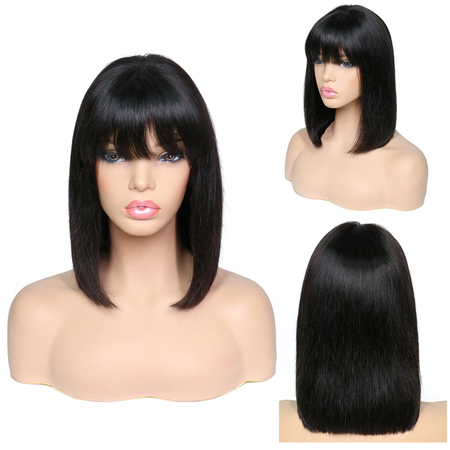 13X4 Lace Front Human Hair Wigs With Bangs Brazilian Hair Pre Plucked Straight Short Bob Wig Natural Black Lace Wig