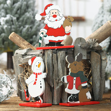 Detachable Santa Claus Snowman Reindeer Wood Wooden Craft Christmas Decorations For Home Table Decoration Manualidades Navidad santa claus reindeer printed christmas tapestry