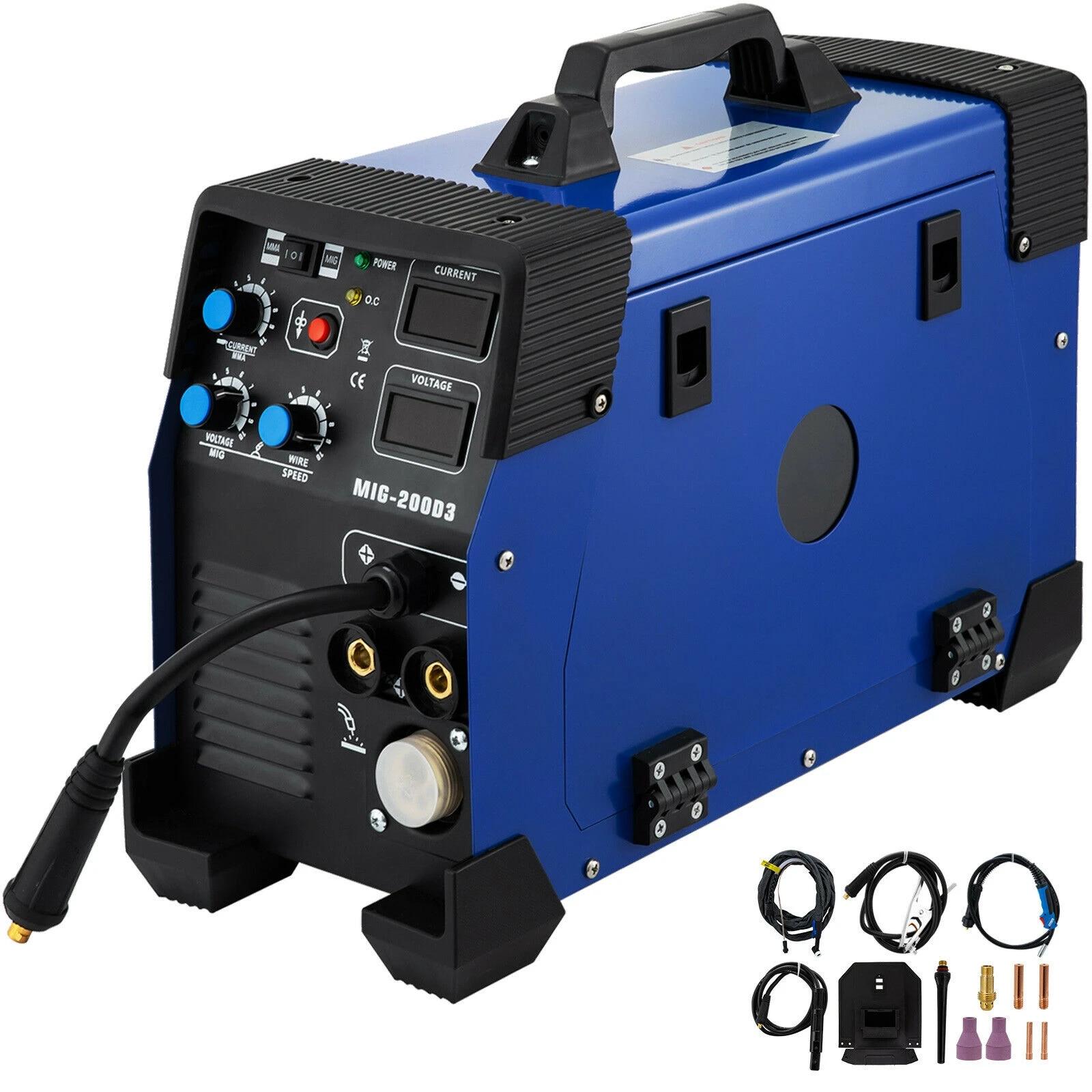 VEVOR Soldadora Inversora 1 Fase 220 V /± 10/% 20-200 A IP21S M/áquina de Soldadura TIG Inverter con Panel de Monitor LCD para Soldar Acero TIG y STICK//MMA Multifunci/ón Combo 3 en 1 Soldadora MIG