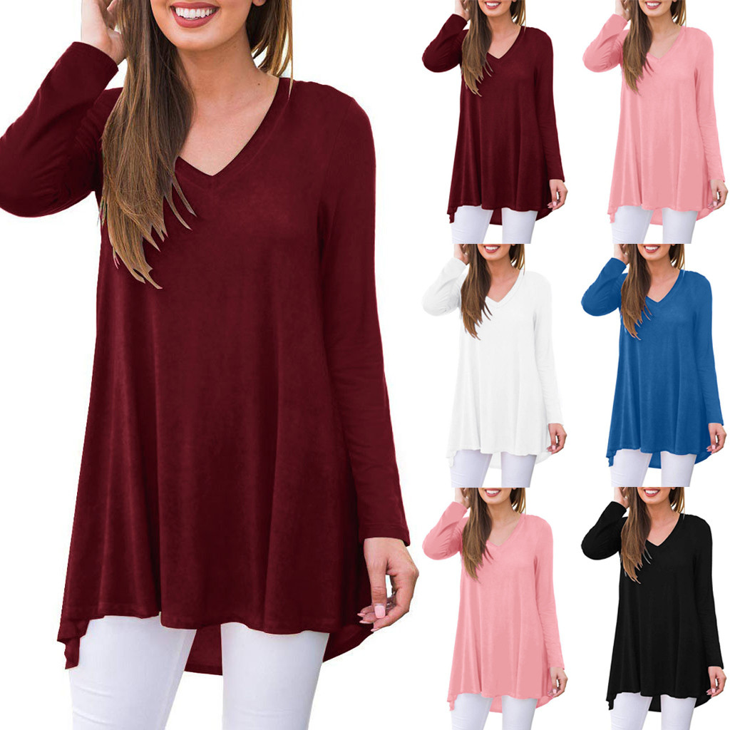 Модные женские топы, элегантная повседневная свободная удобная женская одежда для сна с длинным рукавом, туника, блузка, рубашки, простой ди...