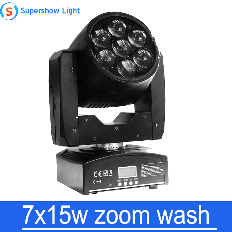 disco dj lighting zooming mini KTV DJ  Party Show Stage DMX512 7x15w LED RGBW Color Zoom Wash LED Moving Head light