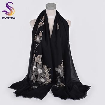 [BYSIFA] nowych kobiet 100 wełny szale szale haftowane jesień zima stałe czarne białe panie długie szale Hijabs szalik Wrap tanie i dobre opinie WOMEN Dla dorosłych Z wełny Szalik szal Moda 175 cm Szaliki YMSX01-7 100 wool 190(length)*70(width)cm+1*2cm Black and White