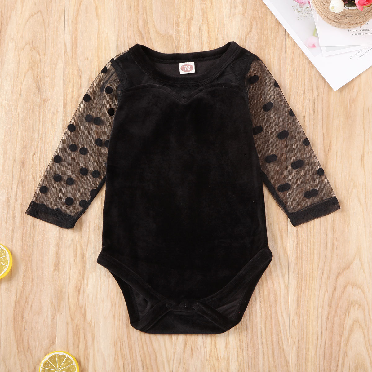Pudcoco Newborn Baby Girl Clothes Solid Color Lace Mesh Long Sleeve Velvet Romper Jumpsuit One-Piece Outfit Bowknot Clothes