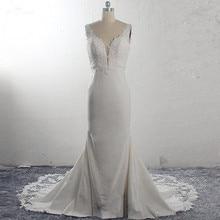 RSW1591 Vestido De Noiva Strech ساتان دانتيل حورية البحر فساتين الزفاف 2020 بدون أكمام ذيل كورت