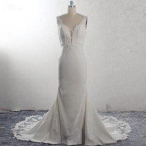 Image 1 - RSW1591 Vestido De Noiva Strech Satin Lace Mermaid Wedding Dresses 2020 Mouwloze Cut Out Trein