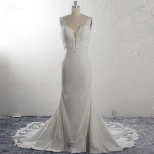 RSW1591 Vestido De Noiva Strech Satin Lace Mermaid Wedding Dresses 2020 Sleeveless Cut Out Train