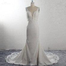 Robes De mariée sirène en Satin avec dentelle stretch, sans manches, coupe circuit, RSW1591, modèle 2020