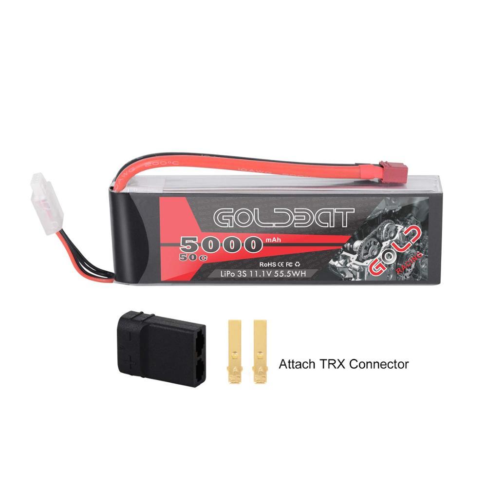 Étui rigide GOLDBAT 5000mAh 11.1V 3S 50C Lipo RC avec connecteur Deans T et TRX pour Traxxas Axial RC Truggy Racing
