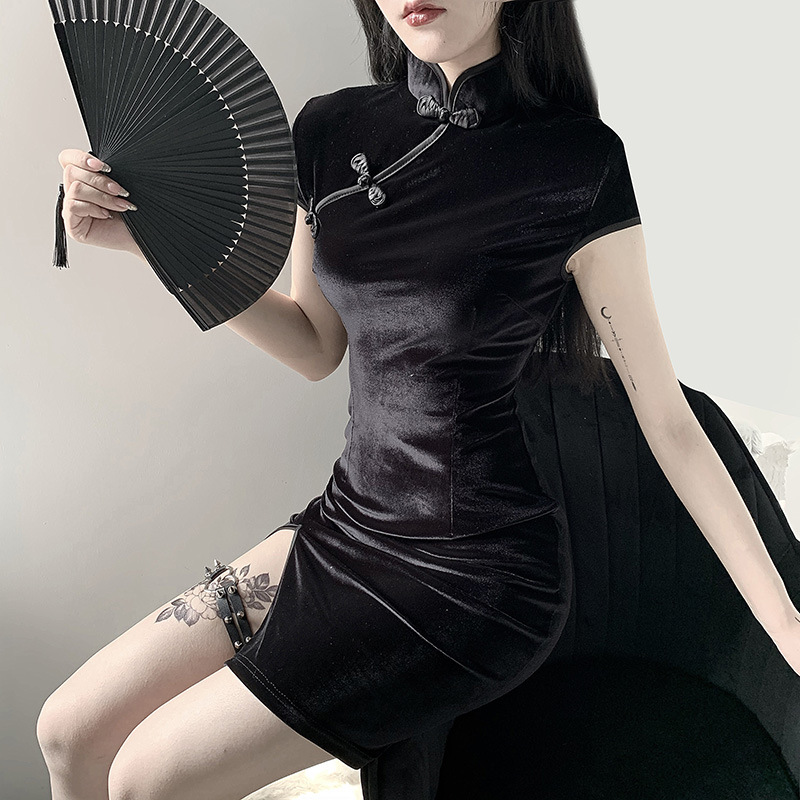 Goth Dark women dress cheongsam chinese style skinny mini dress streetwear sexy vintage harajuku summer women clothing slim 2020