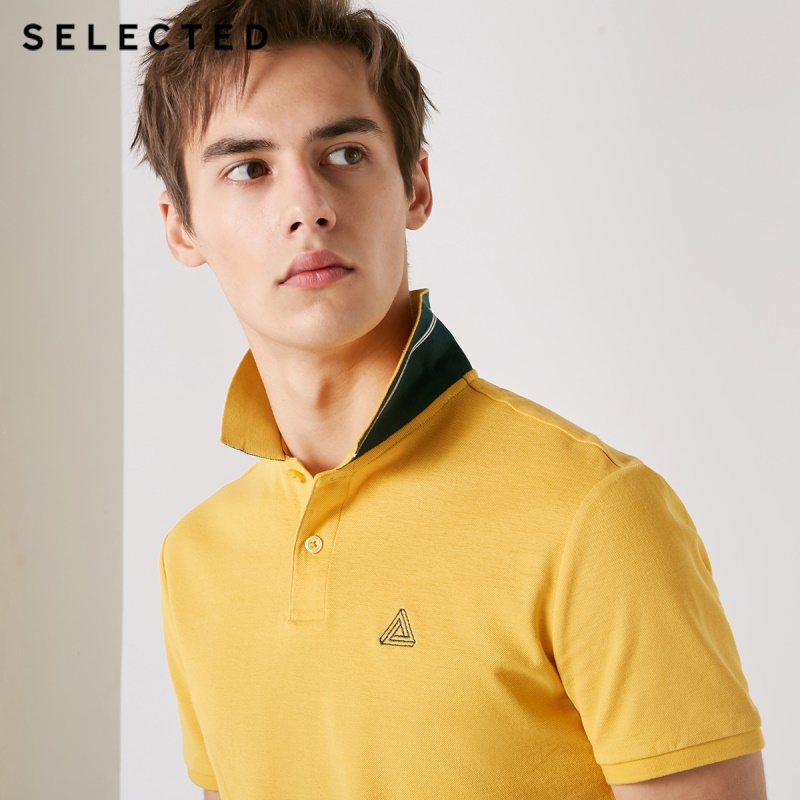 SELECTED Men's 100% Cotton Short-sleeved Turn-down Collar Poloshirt S|419106502