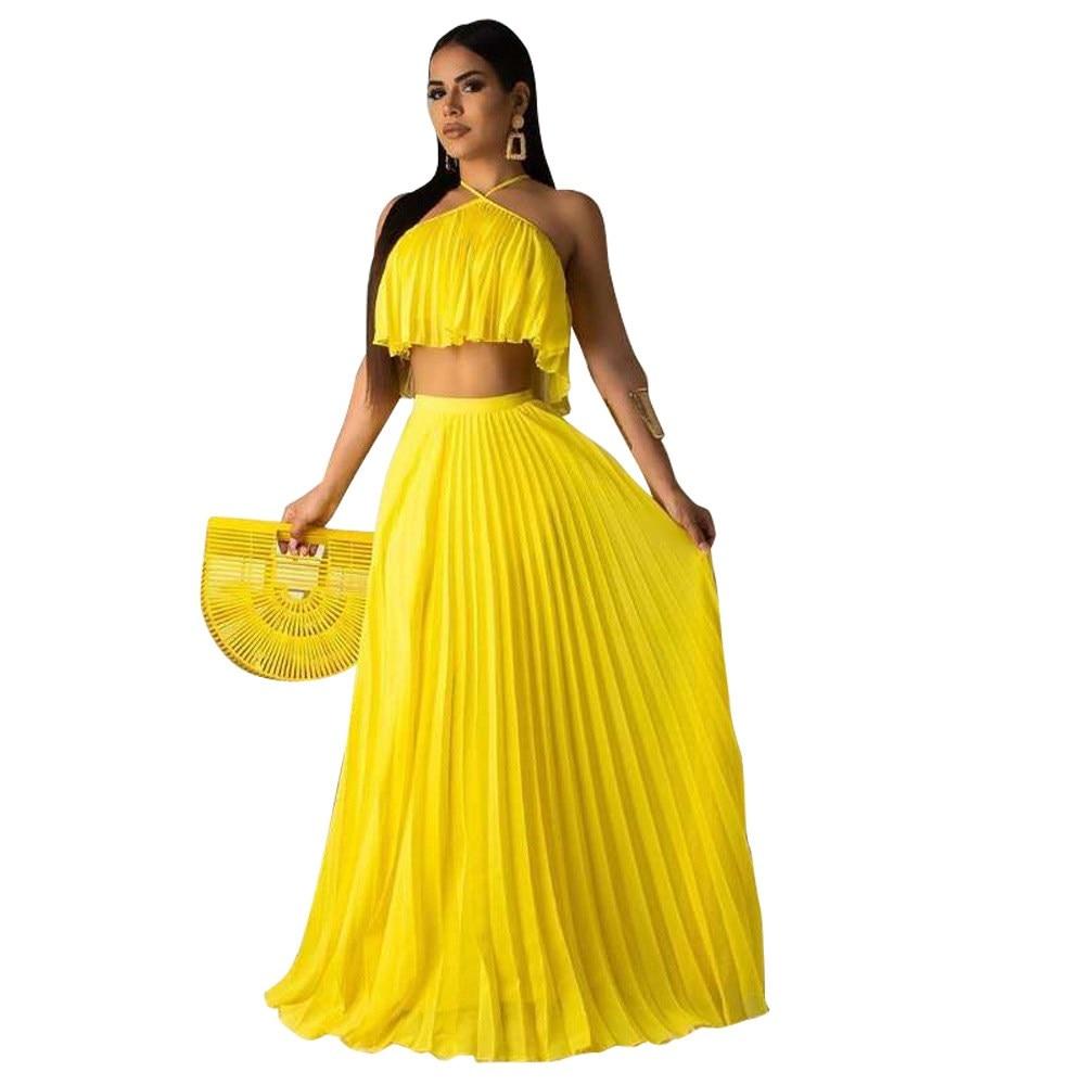 Nice Chiffon Neon 2 Piece Set Women Festival Off Shoulder Crop Top Pleated Skirt Set Matching Sets Summer Beach Outfit