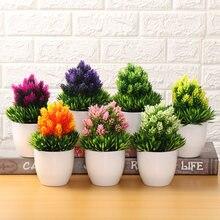 Juego de bonsái de plástico Artificial para decoración del hogar, simulación de plantas realistas en maceta, adorno de escritorio, topiario, árbol de pino, manualidades