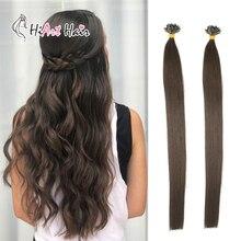 """HiArt 0,8 г/шт. плоский локоны для наращивания волос с волосы Double Drawn расширения Keratina человека Волосы remy пучки волос двойной нарисованный 1"""" 20"""" 22"""""""