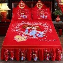 1 шт. утолщенное шлифованное покрывало, свадебное Натяжное покрывало, мягкая Нескользящая кровать King queen для кровати 1,2 м/1,5 м/1,8 м/2,0 м