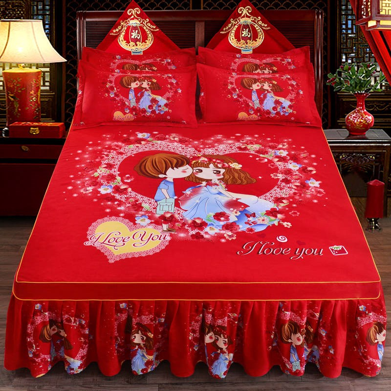 1pc Thickened Sanding Bedspread Wedding Fitted Sheet Cover Soft Non-Slip King Queen Bed Skirt For 1.2m/1.5m/1.8m/2.0m Bed