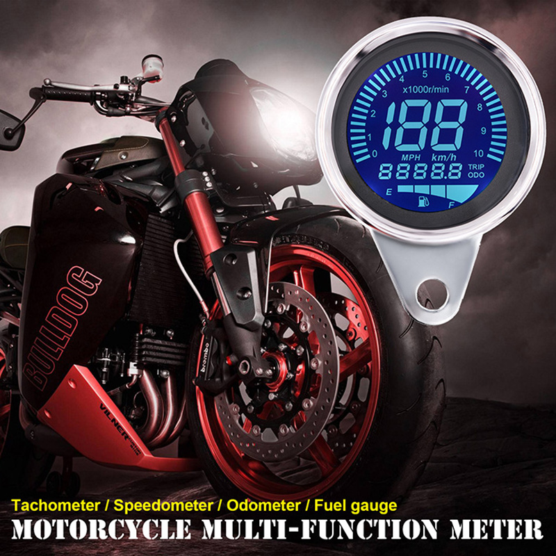 WUPP Universal Digital Motorcycle LCD Screen Speedometer Odometer Techometer Fuel Gauge for 1-4 Cylinders 7 Color Backlight image