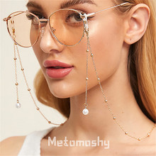 Fashion Womens Gold Silver Eyeglass Chains Pearl Sunglasses Reading Beaded Glasses Chain Eyewears Cord Holder Neck Strap Rope