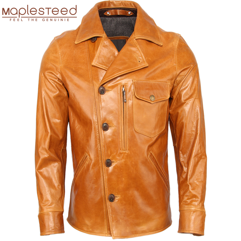 Men Leather Jacket 100% Cowhide / Oil Waxed Sheepskin Soft Genuine Leather Jacket Man Skin Coat Autumn Male Clothing Winter M367