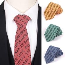 Skinny Men Ties Classic Words Print Necktie For Business Slim Striped Neck Tie Women Cravats Groom Neckties