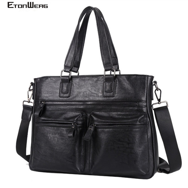 Men's Business Office Briefcase Waterproof PU Leather Handbag Male Solid Black Computer Laptop Bags Vintage Shoulder Travel Tote