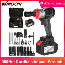 Cordless Impact Wrench 980Nm Torque Brushless Motor with 1/2&5/16 Inch Quick Chuck 2x6.0A Charger Variable Speed Impact Kit
