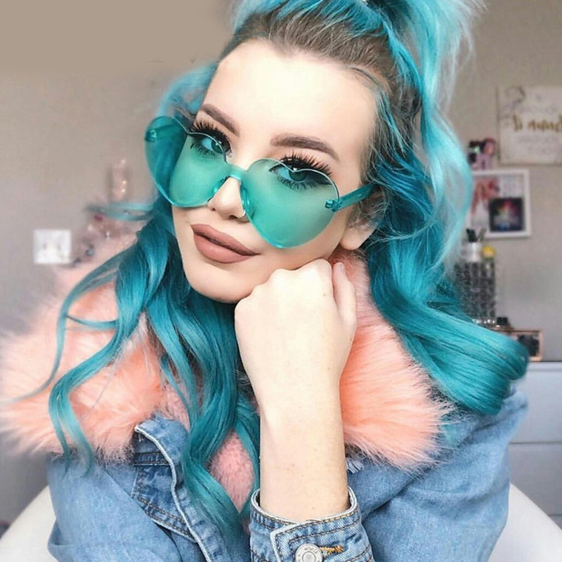 AOXUE Heart Sunglasses Transparent Retro Designer Eyewear Rimless Women Brand Love UV400