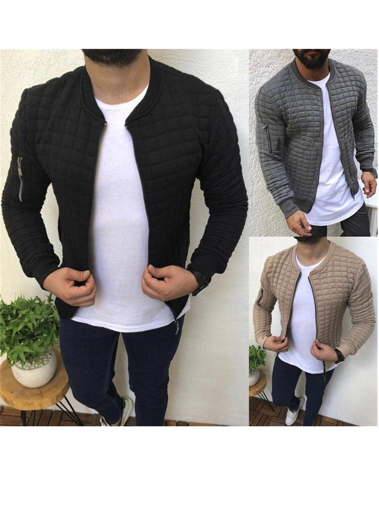 Quality Men's Autumn Pleats Fit Jacket Zipper Casual Cardigan Coat Sports Casual Men Hip Hop Man Jacket Grid Zipper Jackets