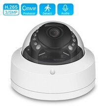 Telecamera IP Audio 5MP 3MP 2MP PoE 48V 5MP 2560*1920 antivandalo 20M visione notturna telecamera di sicurezza domestica e mail telecamera Dome di allarme IP