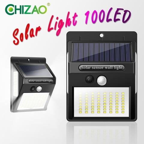 chizao alimentado por bateria luz conduzida da noite com sensor de movimento solar lampada de