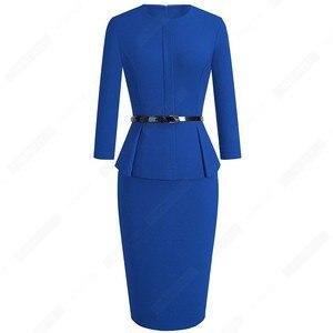 Image 5 - Automne hiver classique femmes robe daffaires élégant ceintures couleur unie moulante travail carrière robe de bureau EB473