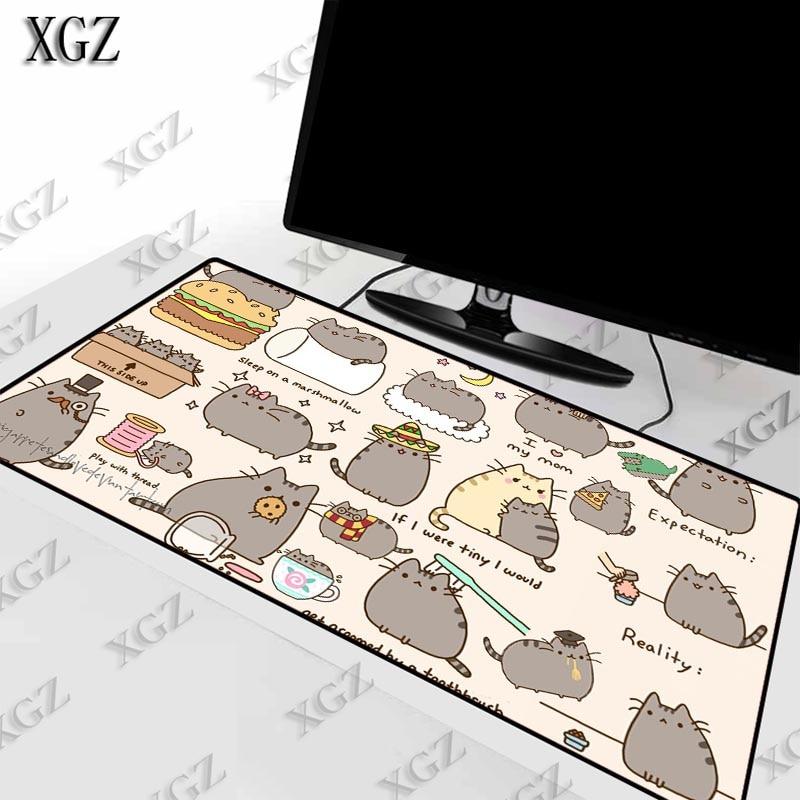 XGZ Cute Cat Anime Animal Large Size Gaming Mouse Pad Rubber PC Computer Gamer Mousepad Desk Mat Locking Edge for CS GO LOL Dota