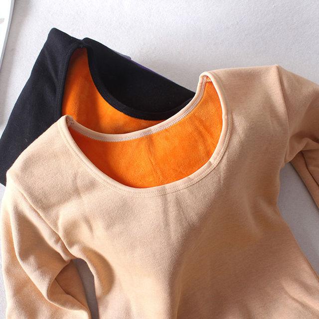 Autumn Winter Plus Velvet Long Sleeve T Shirt Women Thick Warm Cotton Tshirt Women Casual Tee Shirt Femme Slim Ladies Tops C5934 1