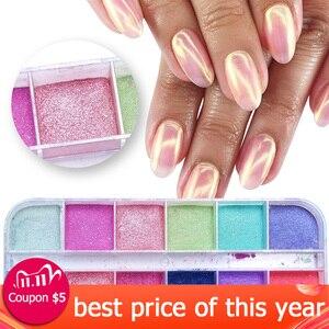 Image 1 - Polvo de uñas cromo de 12 rejillas para inmersión, Polvo de pigmento de colores, purpurina de perlas para decoración de uñas, LAZGF 1